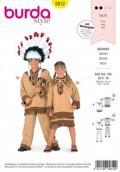 Bilde av 5812 - Burda - kostyme, indianer, barn