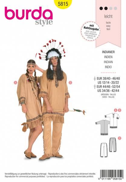 Bilde av 5815 - Burda - kostyme, indianer, voksen