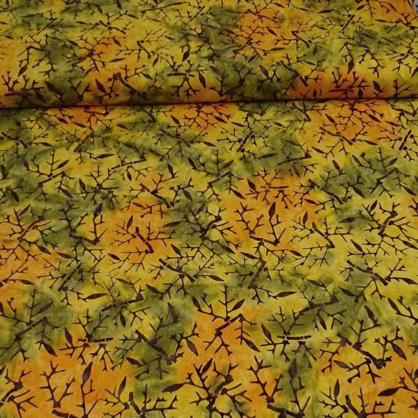 Bilde av Batikk - grønn oransje gul m bambus mønster