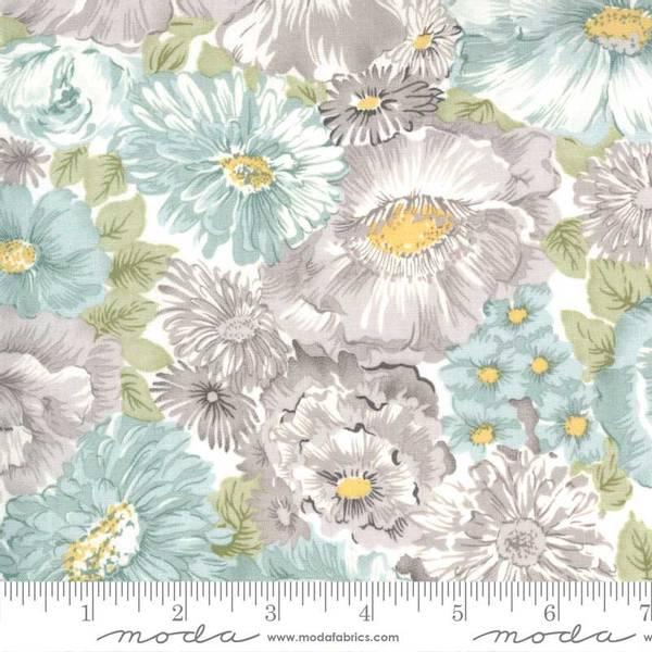 Bilde av Sanctuary - 2-9 cm dus aqua & lys varmgrå blomster