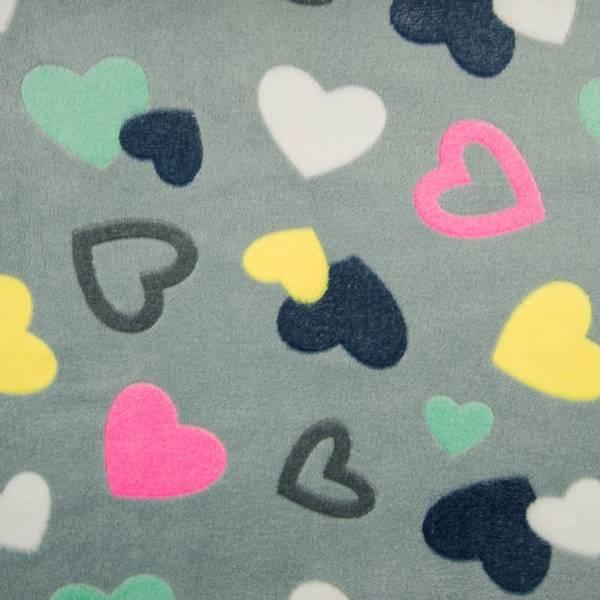 Bilde av Luksusfleece - 4-8 cm hjerter på grå
