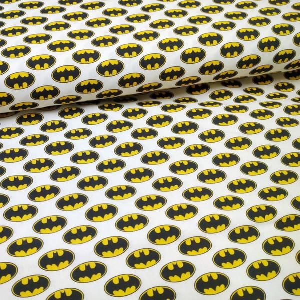 Bilde av Vevd bomull - 3 cm batman-logo på hvit