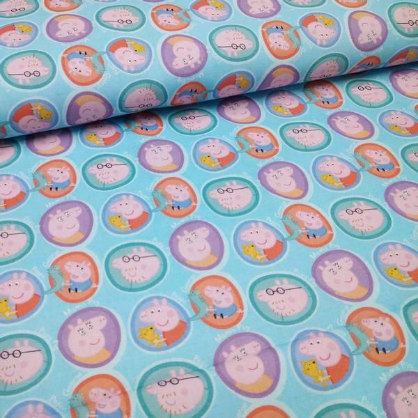 Bilde av Vevd bomull - Peppa Gris, 4 cm rundinger på lysblå