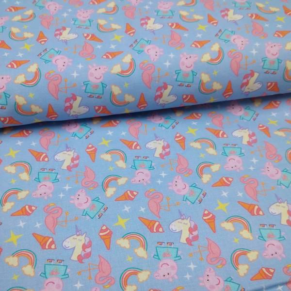 Bilde av Vevd bomull - 3 cm Peppa Gris på dusblå