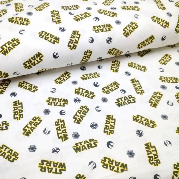 Bilde av Vevd bomull - 3,5 cm Star Wars logo på hvit