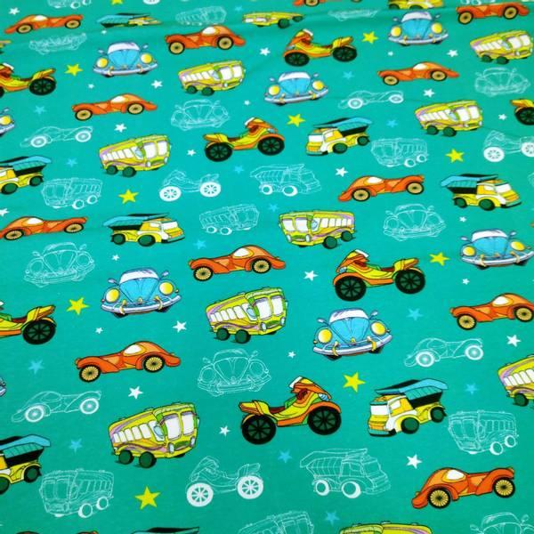 Bilde av Bomullsjersey - 5-6 cm biler på sjøgrønn