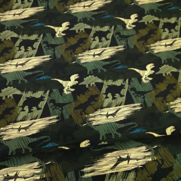 Bilde av Bomullsjersey - 6 cm dinosaur, oliven-sort-sand