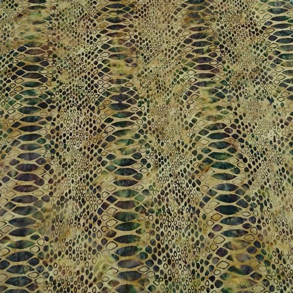Bilde av Batikk - slangeprint, oliven på lysbrun