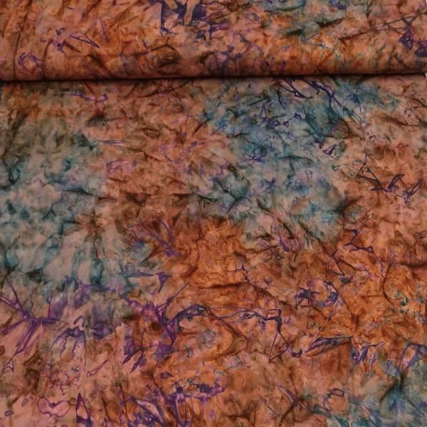 Bilde av Batikk - stålblå-brun marmorert m lilla innsprengsel