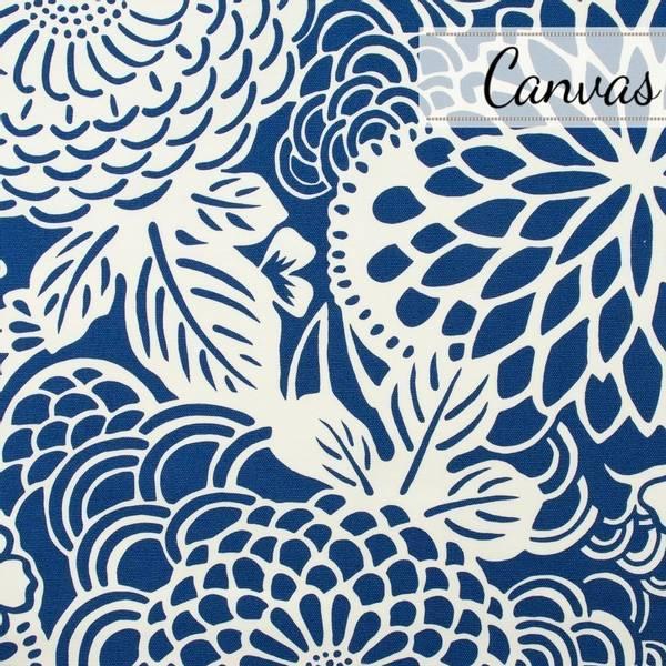 Bilde av 45 cm Ogiku - Heavy Oxford Kanvas -  stor blå blomstermotov på c