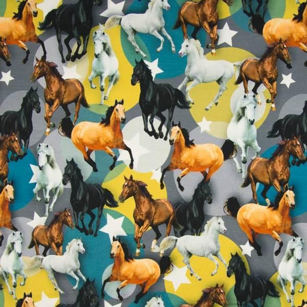 Bilde av Bomullsjersey - 10 cm hester på petrol-okergrå
