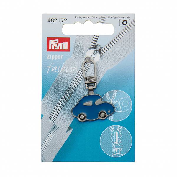 Bilde av Glidelås-påheng, 15*25 mm blå bil