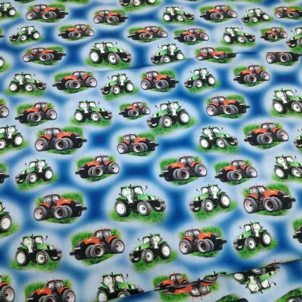 Bilde av Poplin - ca 4 cm traktor på blå
