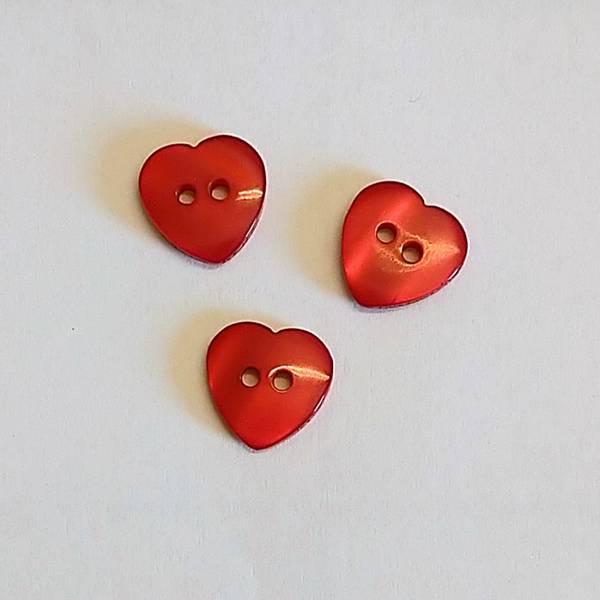 Bilde av Knapp, hjerte, rød - 12 mm