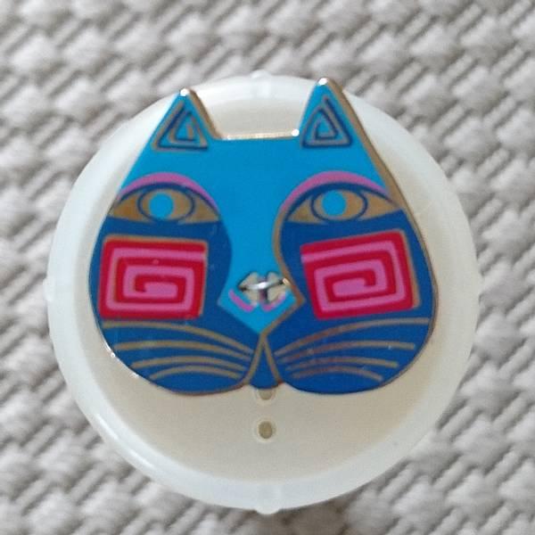 Bilde av Knapp, kattehode 25x 30 mm, blå-turkis, emalje