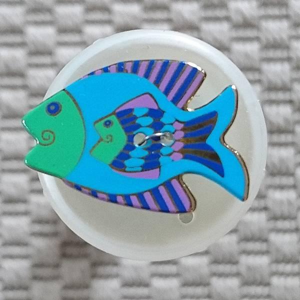 Bilde av Knapp, fisk, 20 x 30 mm, emalje, blå-grønn med lilla-blå