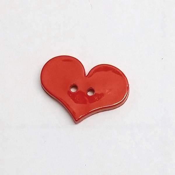 Bilde av Knapp, hjerte, rød - 17*25 mm