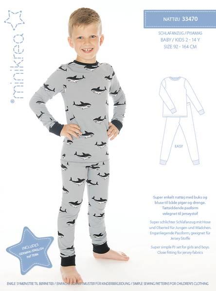 Bilde av Minikrea 33470 - Nattøy, pysjama til barn, lang/kort, t-skjorte