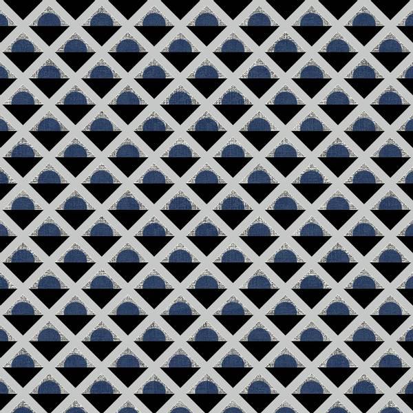 Bilde av Retro Vibes - 15 mm blå-sort rutemønster på lysgrå