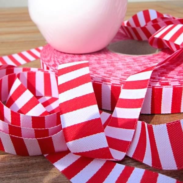Bilde av 4,4 m Farbenmix - 15 mm bånd, 5 mm rød-hvite striper