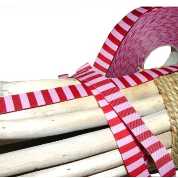 Bilde av 3 m Farbenmix - 15 mm bånd, 5 mm rød-rosa striper