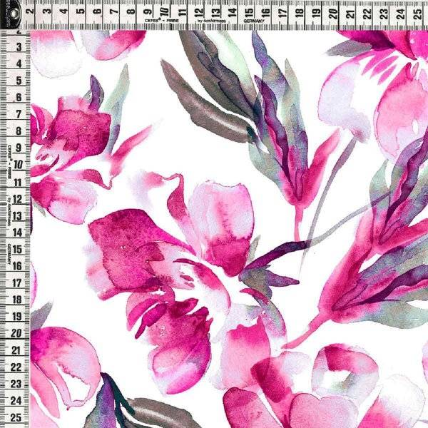 Bilde av Bomullsjersey - 10-14 cm rosa akvarellblomster