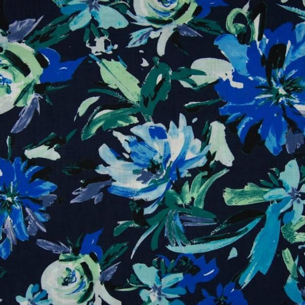 Bilde av Vevd viskose - 13 cm blå blomst på marine