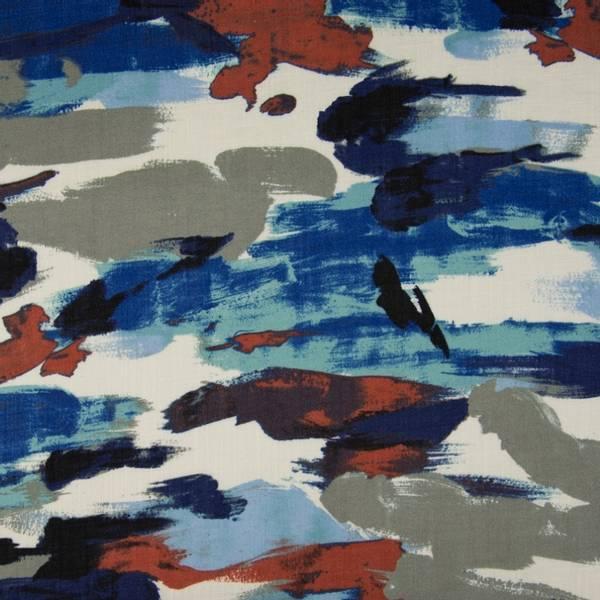 Bilde av Vevd viskose - grå-blå-terracotta mønstret