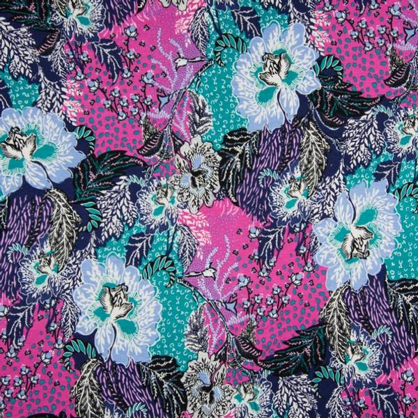 Bilde av Viskosejersey - print blomst - fuksia, marine, lysblå, sjøgrønn