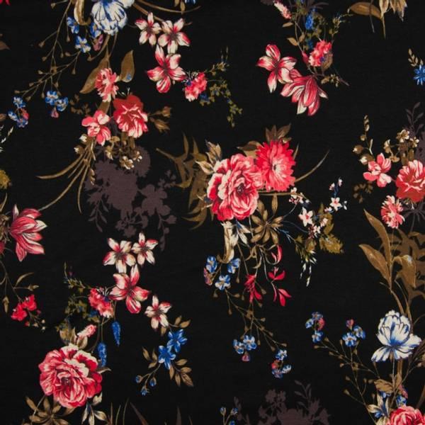 Bilde av Viskosejersey - 2-5 cm blomsterhoder på sort