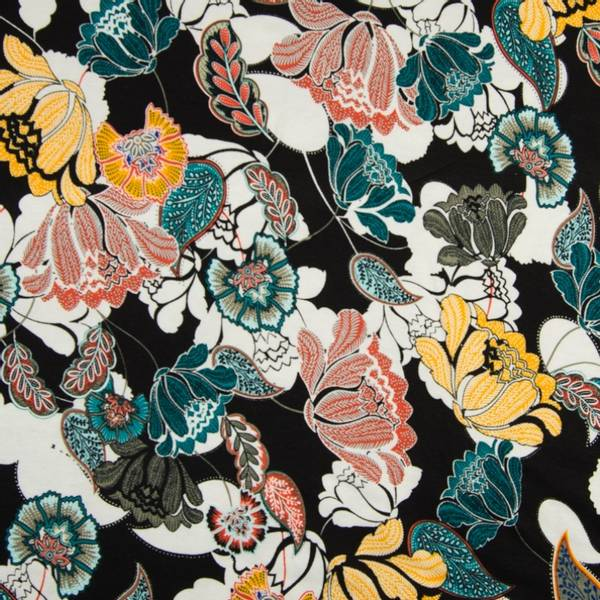 Bilde av Viskosejersey - sort-hvit med blomster