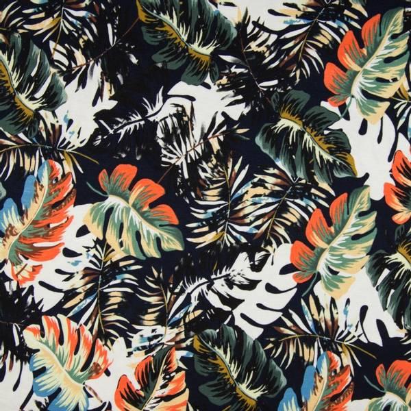Bilde av Viskosejersey - monstera-blader på sort