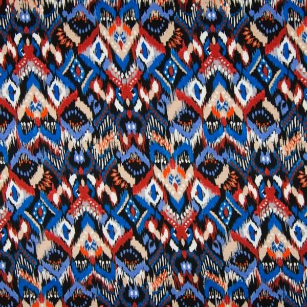 Bilde av Viskosejersey - Ikatmønster, blå-terracotta