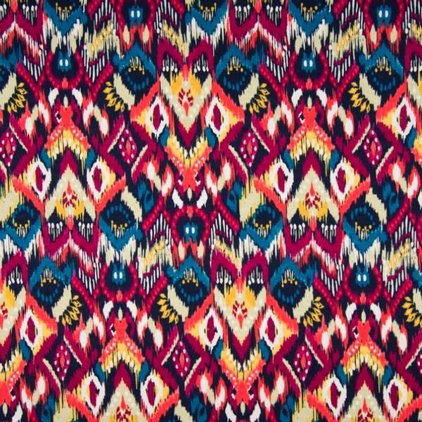 Bilde av Viskosejersey - Ikatmønster, bringebær-petrol