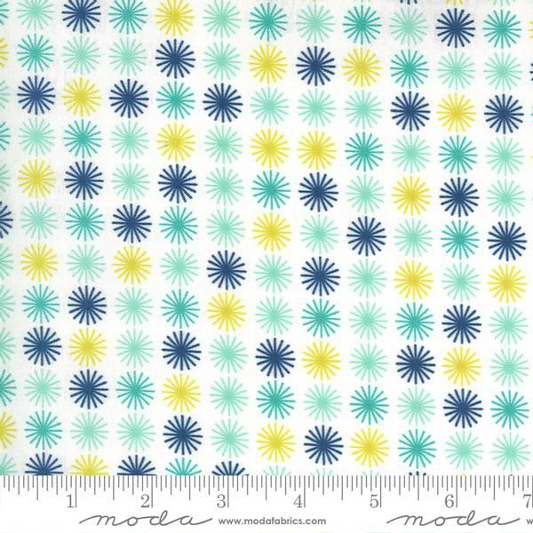 Bilde av Flowers for Freya - 15 mm blå-aqua sol på hvit