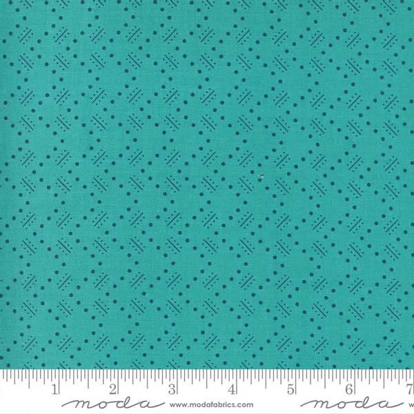 Bilde av Flowers for Freya - 1 cm blå mønster på sjøgrønn