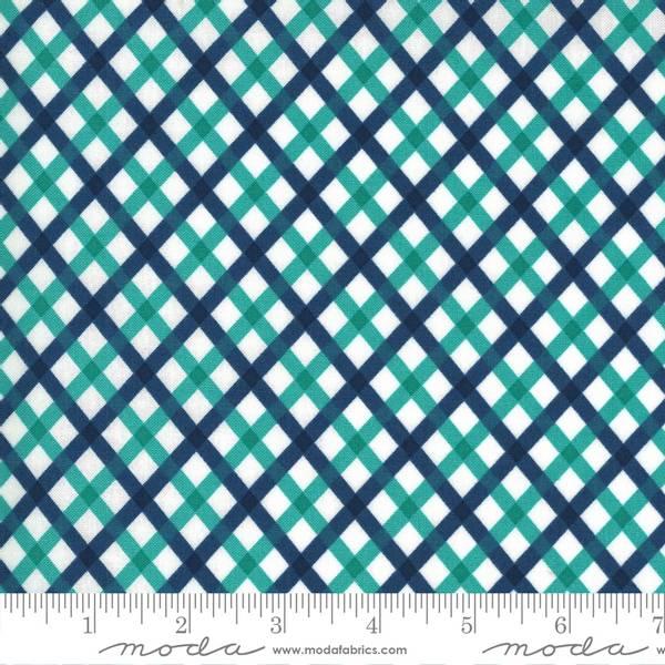 Bilde av Flowers for Freya - blå-aqua 1 cm diagonale ruter