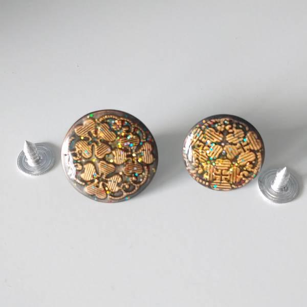 Bilde av Dongeriknapp, patentknapp - kobber m glitter
