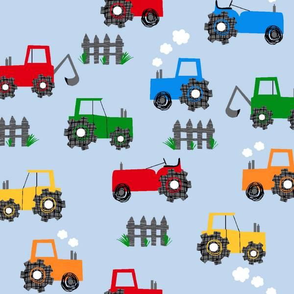 Bilde av Flanell - 5 cm traktor på lysblå