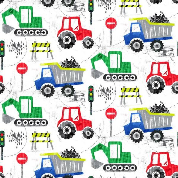 Bilde av 60 cm Flanell - 4-6 cm traktor & gravemaskin på hvit