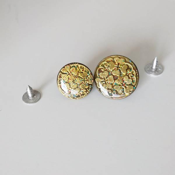 Bilde av Dongeriknapp, patentknapp - gull m glitter