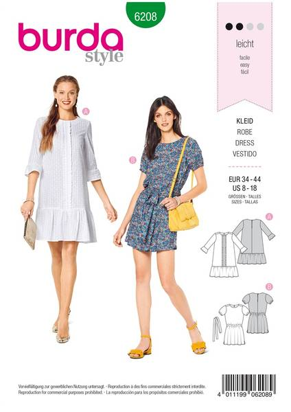 Bilde av 6208 - Burda - kort kjole