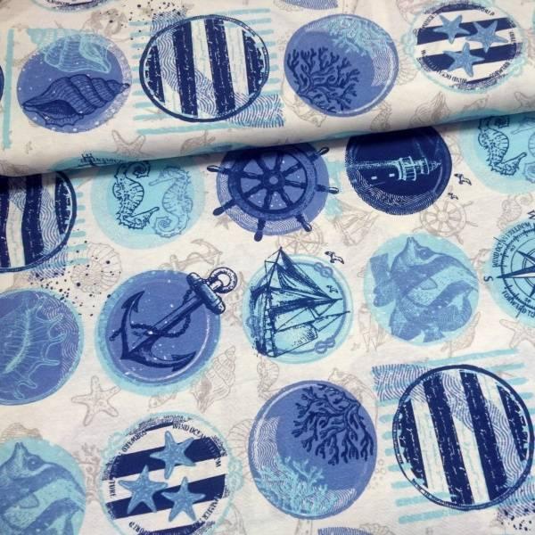 Bilde av Halvpanama maritim - 10 cm runde motiver i blå-lysblå på offwhit