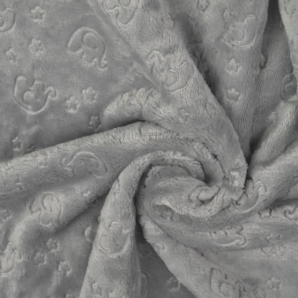 Bilde av Luksusfleece - 3 cm preget elefant på lysgrå