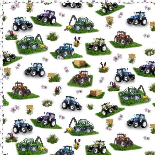 Bilde av Poplin - ca 7 cm flerfargete traktor på hvit