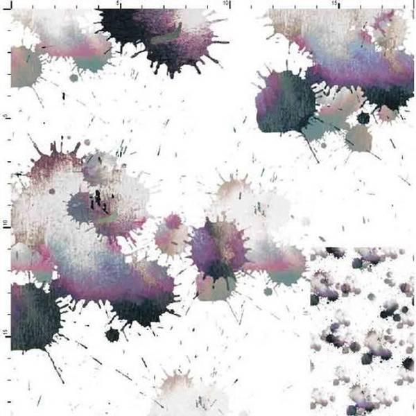 Bilde av French Terry - hvit med 2-8 cm malingsflekker