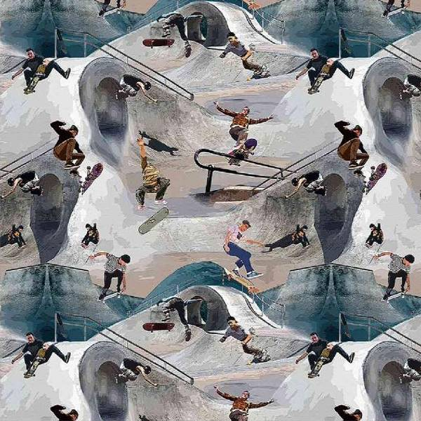 Bilde av Bomullsjersey - 5 cm skater på blågrå