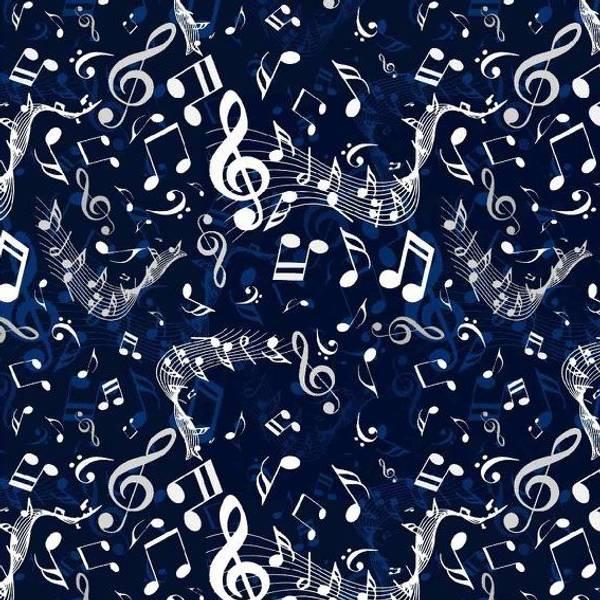 Bilde av Bomullsjersey - musikk - 1-5 cm noter på marine