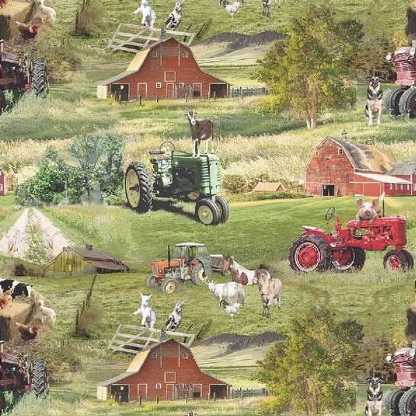 Bilde av Bomullsjersey - bondegård grønn - 7 cm traktor