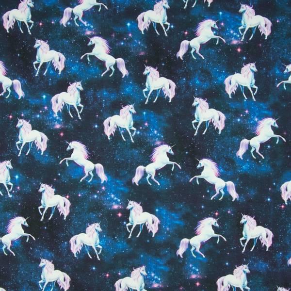 Bilde av Bomullsjersey - 7 cm enhørninger på mørkblå